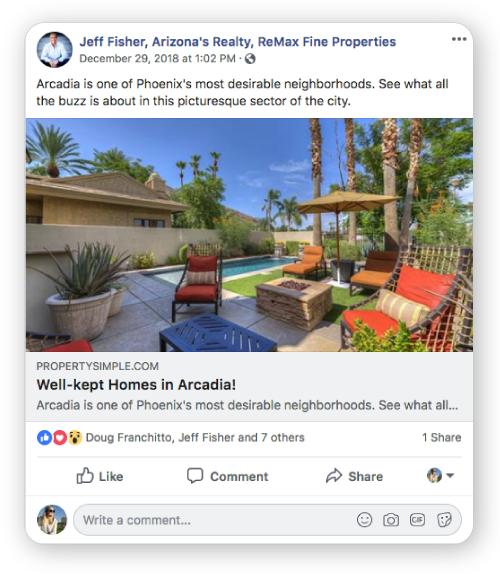 Facebook post from ProeprtySimple with reactions and comments