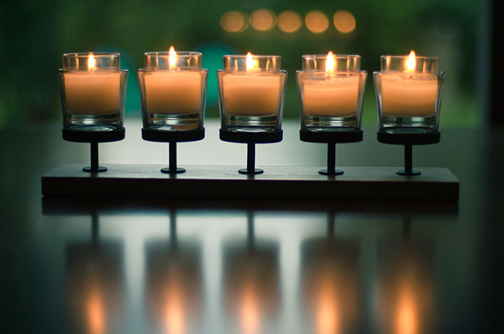 Candles in a line