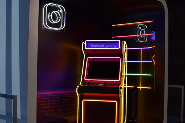 Facebook neon gaming machine