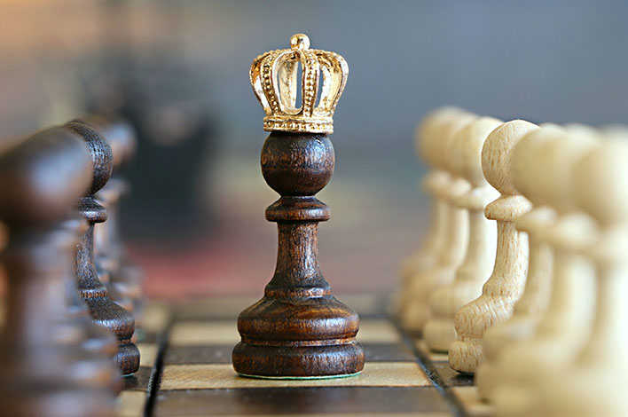 Chess king with crown